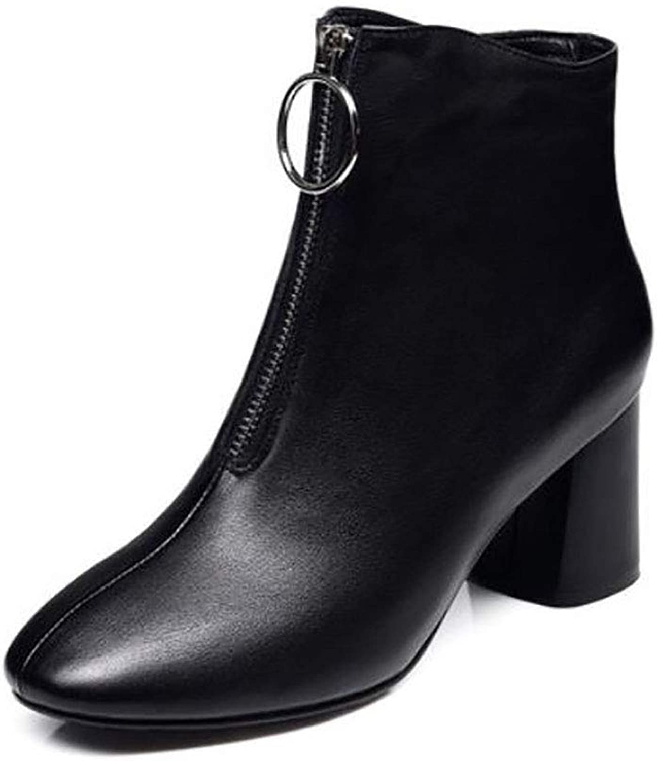 Women's shoes Winter high Heel Small Boots Women Rough with Leather Comfortable Martin Boots (color   A, Size   34)