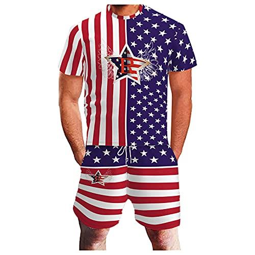 4. Juli Amerikanische Flagge 2-teiliges Set Sommer Outfit Sport Set Independence Day Kurzarm T-Shirt und Shorts Set Gr. XXL, rot