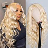 613 Lace Front Wig Human Hair 150% Density 13x4x1 Deep Middle T-Part Blonde Lace Front Wig Brazilian Body Wave Lace Front Human Hair Wigs for Women (18inch, 613 T-Part Body Wave Lace Front Wigs)