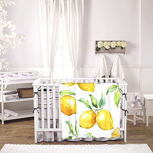 Watercolor Lemon Pattern Unisex Plush Blanket Infant Newborn Receiving Blanket for Crib Stroller Travel Decorative One Size Black