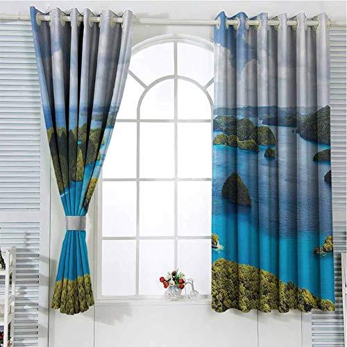 Cortina de privacidad de 250 cm de largo, verde azul y negro, 108 x 108 pulgadas, vista de las islas de Palau desde arriba, tradicional turística verde escénico del mar, cortina oscura para dormitorio