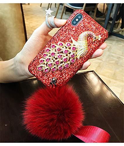 Funda para iPhone 6 Plus, con piedras preciosas de pavo real 3D, hecha a mano, diamantes de imitación, con pompón de piel de conejo para Apple iPhone 6 Plus/6S Plus (B rojo-rojo)