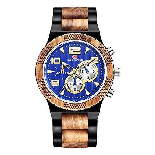WJH9 Multifunción sándalo dial Grande del Reloj de los Hombres con Doble Cristal Broche de Cierre Mineral Espejo del Reloj de la Correa de Registro