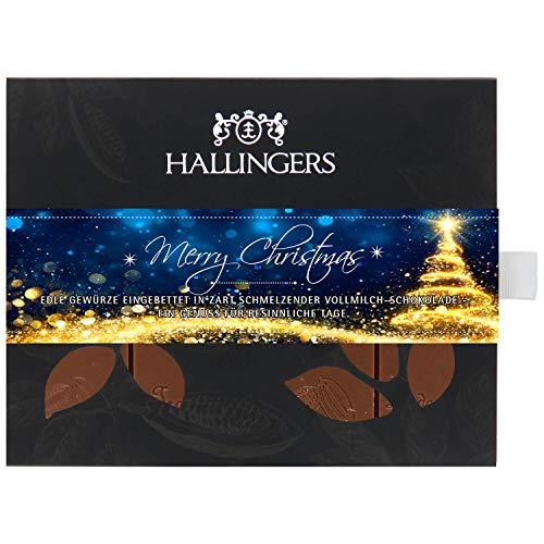 Hallingers Vollmilch-Schokolade mit Lebkuchengeschmack hand-geschöpft (90g) - Merry Christmas (Tafel-Karton) - zu Weihnachten