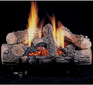Rasmussen 18-inch Chillbuster Gas Log Set With Vent Free Natural Gas Evening Embers Single Burner - Variable Flame Remote