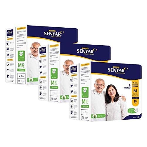 "Senyar Unisex Adult Diaper with Aloe Vera and Super Lock Gel, Medium Waist Size (28"" to 44"" inches) - 30 Pieces"