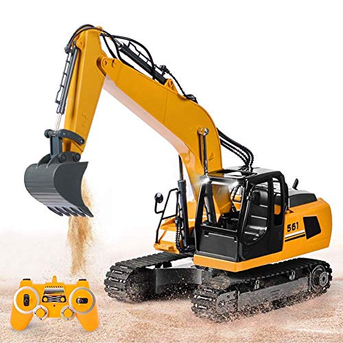 LXDDP Excavadora 17 Canales Juguete 1/16, Excavadora Camiones Control Remoto con Luces Pala Metal, Sonidos, 1 baterías Recargables, 2,4 GHz, Juguetes construcción, vehículos