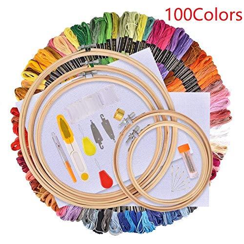 HOUSON Stickerei Set, Stickerei Starter Kit, Kreuzstich Set, 100 Farbfäde, 5 Bambus Stickrahmen, 2 Stoffe, 30 Nadeln DIY Stickgarn Set Anfänger Kit