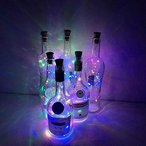 Weinflasche Lichter mit Kork, 6 Pack 20 LEDs Flasche Schnur-Licht / 6.5ft (2M) Silber Kupferdraht Batteriebetriebene Wohnkultur Seil Lampe für DIY Geburtstag Hochzeit - Bunt