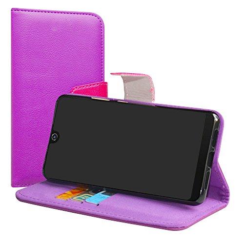 LiuShan Wiko View 2 Pro Hülle, Brieftasche Handyhülle Schutzhülle PU Leder mit Kartenfächer & Standfunktion für Wiko View 2 Pro (6 Zoll) Smartphone (mit 4in1 Geschenk verpackt),Violett