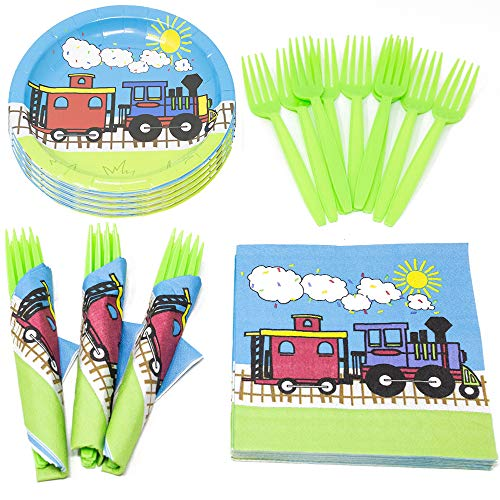Train Value Party Supplies Pack (58+ Pieces for 16 Guests), Value Party Kit, Train Party Plates, Train Birthday, Napkins, Forks, Tableware