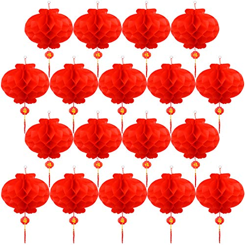 Tupa 20 Pieces Red Chinese Lanterns Decorations Lantern Festival Decoration for Chinese New Year, Spring Festival, Lantern Festival Celebration Supplies(20, 14 Inches)