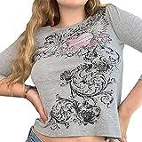 Mujeres Y2K Floral Crop Top Vintage Estética Impresión Gráfica...