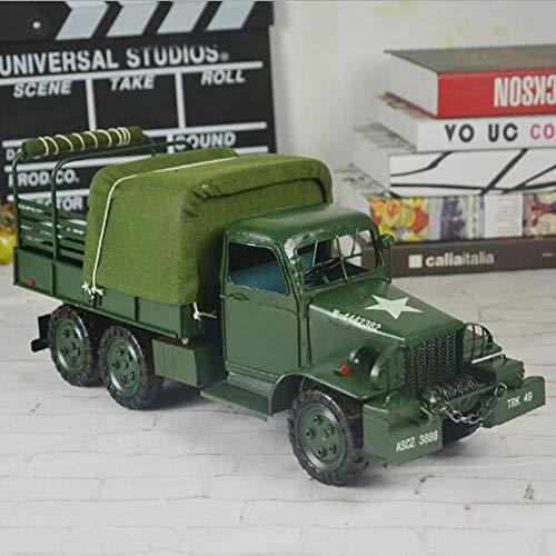 Z H HK Metal De Hierro Camiones Militares Modelo De La Segunda Guerra Mundial De La Vendimia Estaño Crafts Camión Ornamentos Diez (Longitud X Anchura X Altura) 40 * 14 * 18cm Adornos