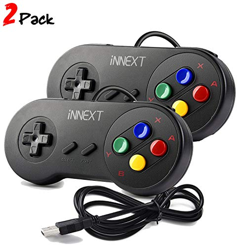 iNNEXT 2 x Retro Classic USB Controller SNES Gamepad, Wired SNES USB Controller Mac Controller for PC Game Windows Raspberry Pi Controller Pads(Multi-color Keys)