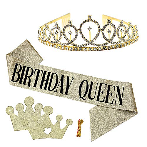 "MoonBrush ""Birthday Queen"" Theme Party Kits, Gold Glitter Birthday Sash with Black Lettering Rhinestone Tiara Crown Pull Flag for Women Birthday Party Supplies"
