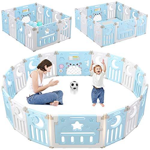 Dripex Laufgitter Laufstall Baby Absperrgitter 14-Paneele Schutzgitter Krabbelgitter für Kinder aus Kunststoff mit Tür und Spielzeugboard (14-Paneele Weiß-Blau)