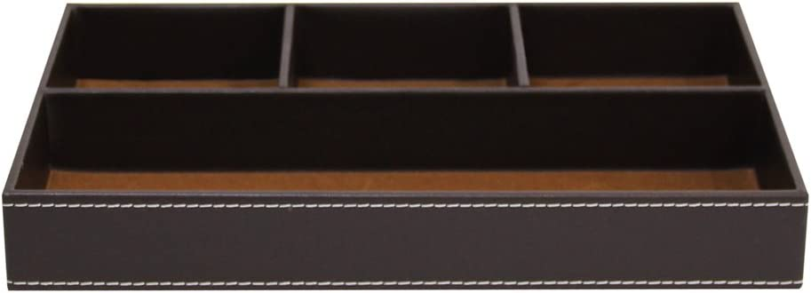 Flat Leather Desktop Organizer Albuquerque Mall 4-Slot Ranking TOP9 - Brown