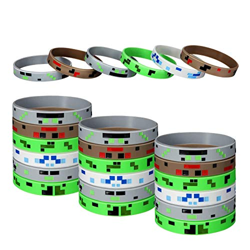 24 Pieces Pixelated Miner Crafting Style Character Wristband Bracelets Silicone Wristbands, Pixelated Theme Bracelet Designs for Mining Themed or Crafting Style Party Supplies (24 Pieces, Style 1)