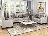 Harper & Bright Designs 3 Pieces Living Room Sets, Couch Set for Living Room with Sofa Loveseat and Armchair (Nail Trim - Beige)