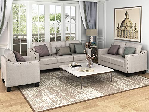 Harper & Bright Designs Living Room 3 Piece Sofa Couch Set,3 Seats Loveseat Single Chair Sectional Sofa Set, Beige