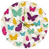 Yoliveya, orologio da parete rotondo, silenzioso, con farfalla, decorativo, senza ticchettio, ideale come regalo, casa, ufficio, cucina, cameretta, soggiorno, camera da letto, 25 cm
