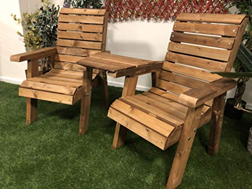 Churnet Valley Garden Furniture Brown Ivy Love Seats Straight Tray, IVY003S