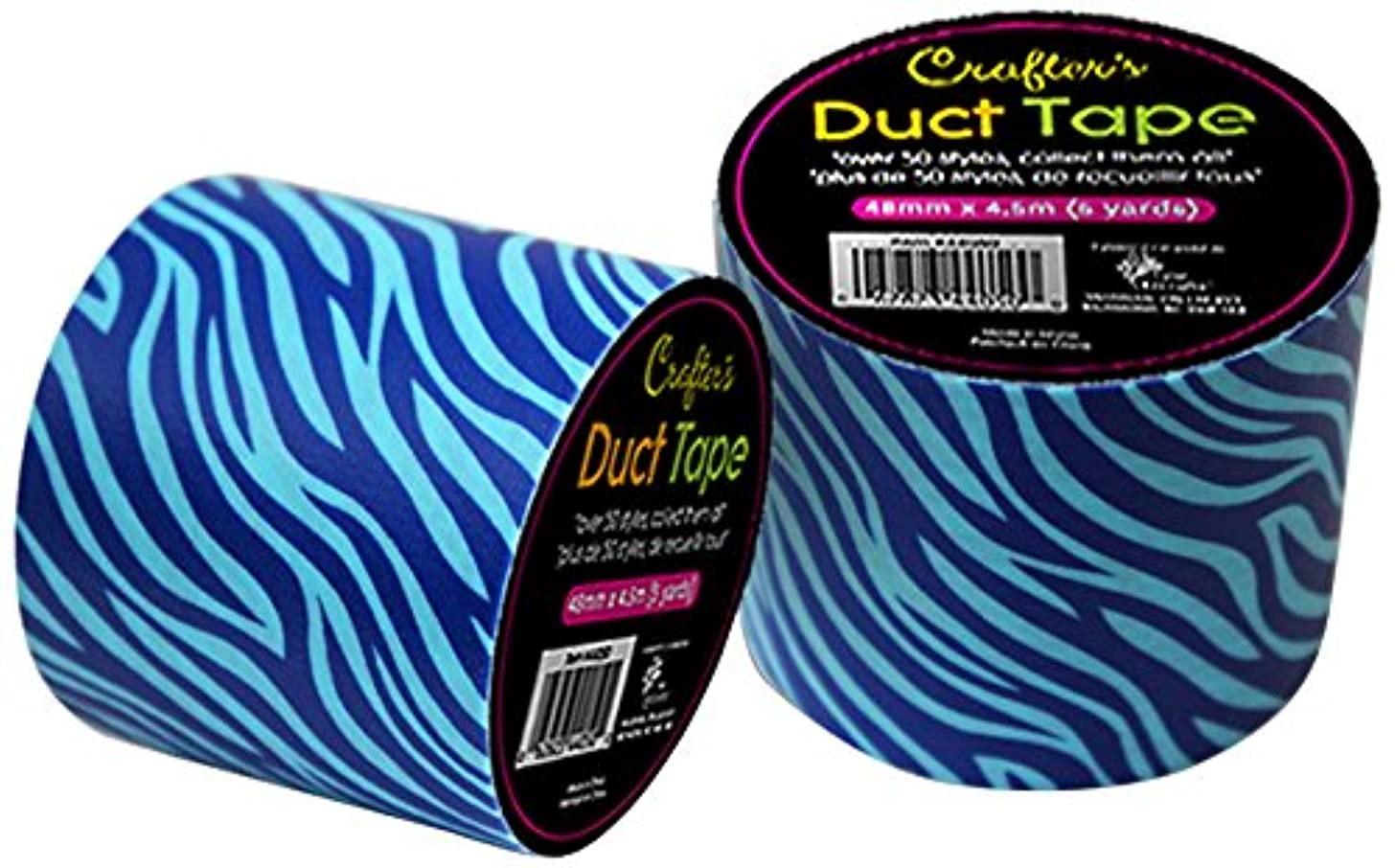 CTG, Crafters Duct Tape, 1.9 Inches, Zebra Blue, 6 Pieces