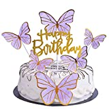 YUINYO Butterfly happy birthday Cake Topper, Happy Birthday Cake Bunting Decor,Birthday Party Decoration Supplies (Purple)