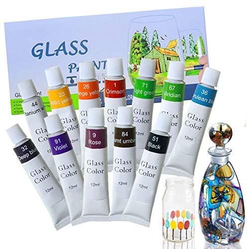 Magicdo 12 colores de pintura de vidrio con paleta, pintura no tóxica para vidrio, uso de vidrio para vidrio, cristal, ventana y cerámica (12x12 ml)