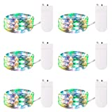 6 Pack Fairy Lights Battery Operated, 7Ft 20 LED Waterproof Mini Firefly String Lights with Flexible Silver Wire for Wedding Centerpieces, Mason Jar Craft, Christmas Garlands, Party Decorations, Multi
