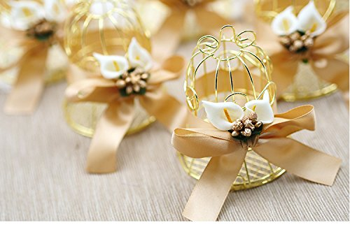 Better-Way 16pcs Steel Birdcage Wedding Favor Box Candy Boxes Baby Shower Box with Ribbons Party Favors (Lily)