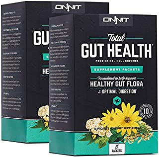 Onnit Total Gut Health - The Most Complete Probiotics & Digestive Enzyme Supplement | Made for Women & Men | 5 Strains of Probiotics, Prebiotics, Enzymes, Betaine HCL