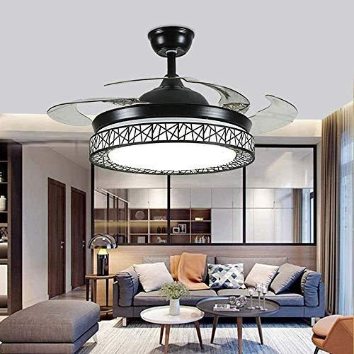 Home Equipment Ventiladores de techo de 42 pulgadas con iluminación 4 aspas retráctiles Ventilador de techo LED moderno 3 cambios de color Candelabro de 3 velocidades con control remoto Creatividad
