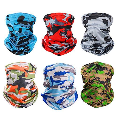 6 unidades de máscara para el sol, protección UV, polaina, cortavientos, protector solar, transpirable, bandana, pasamontañas para deportes y actividades al aire libre - Multi color - talla única