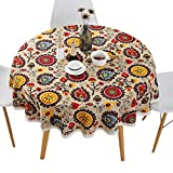 Bettery Home Bohemian Style Round Tablecloth Cotton Linen Lace Floral Table Cloth for Kitchen Dining Room Tabletop Decoration, Round - 60'
