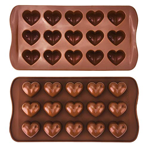 INTVN Moldes para Dulces de Chocolate, 2 Piezas Moldes de Silicona para Chocolate con Forma de Corazón Antiadherentes, para Cocina Hornear Cubitos de Hielo Bandejas para Hacer Tartas Dulces Gotas