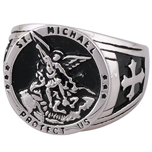 Eosing St Michael The Archangel Catholic Medal Stainless Steel Amulet Ring (12)