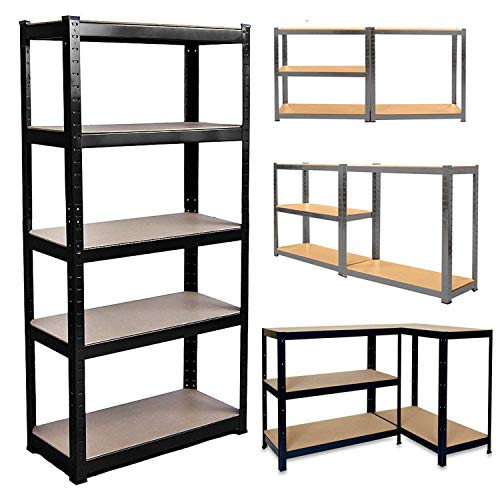 1Pcs 150cm x 70cm x 30cm 5 Tier Heavy Duty Metal Shelving, Racking Storage Unit, Galvanised(175KG Per Shelf), 875KG Capacity Garage Shed Storage Shelving Units,