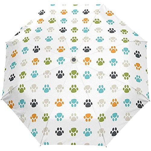 Schattige hond kat puppy poot voetafdrukken Auto open paraplu zon regen paraplu Anti UV vouwen Compact automatische paraplu