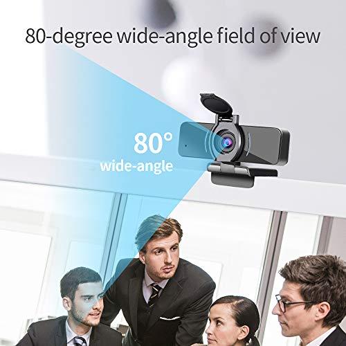 Dericam Cámara Web 1080P con micrófono y Cubierta de privacidad, cámara Web USB para computadora, cámara Web con transmisión HD para computadora de Escritorio y portátil, Lente Gran Angular miniatura