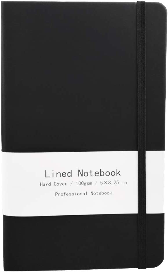 5 x 8.25 Medium A5 Kotooe Hardcover Executive Notebook Black PU Leather Writing Travel Journal 128 Pages 100gsm Premium Thick Paper with Inner Pocket Ruled//Lined