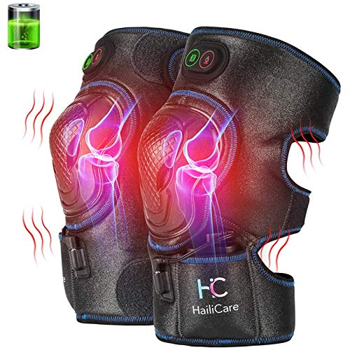HailiCare Heated Knee Massager, Heat & Vabration Knee Brace Wrap Electric Heating Pad W/Rechargable 8.4V Lipo Battery Warm Therapy for Joint Pain, Cramps, Arthritis Meniscus Pain Relief (1 Pair)