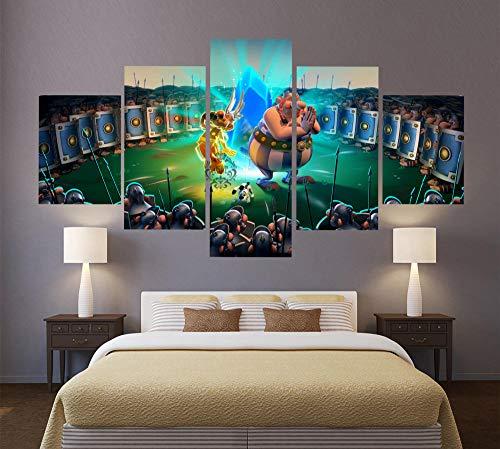 SZQY 5 Stück Leinwand Gedruckt Wandbilder Wohnkultur Wohnzimmer Poster Fresko Poster Leinwand Asterix Obelix