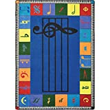 Joy Carpets Kid Essentials Music & Special Needs Elementary Note Worthy Rug, Multicolored, 7'8' x 10'9'