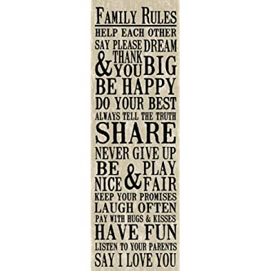 Artissimo Designs Family Rules, 1-Piece Sign Image Printed Canvas Art, 30 by 15-Inch, Burlap, Perfect for Any Decor