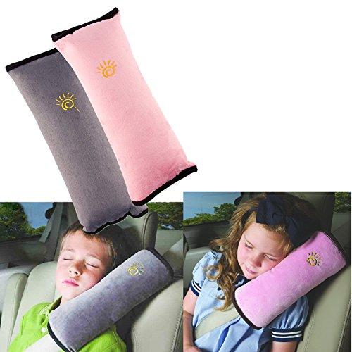 2 Stück Gurtpolster Schlafkissen Nackenstütze für Kinder, Auto Sicherheitsgurt Autositz Kopfkissen Gürtel Pillow Schulterschutz (Grau & Rosa)