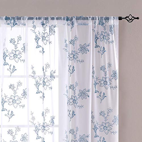 Sheer Curtains for Living Room Embroidered Voile Window Curtains with Floral Design 84 inch Bedroom Kitchen Vintage Rod Pocket 2 Panels Blue on White