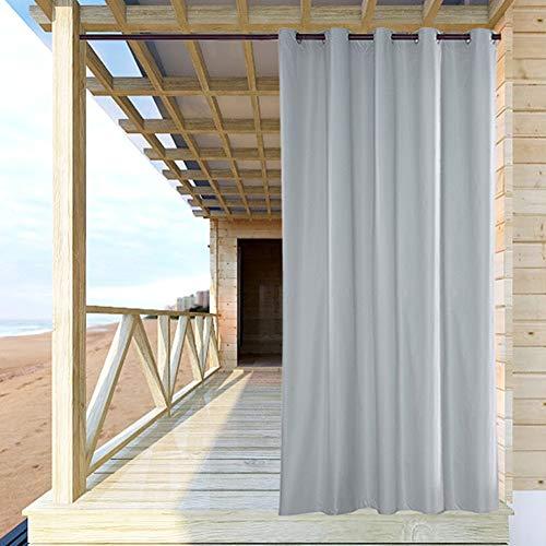 ele ELEOPTION Cortina de Exterior Impermeable, Opaca, Resistente al Viento, Protección UV, para Balcón, Jardín o Patio (137 x 275cm, Blanco)