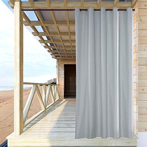 ele ELEOPTION Outdoor Vorhang Wasserdicht,Blickdicht Vorhang Winddicht UV Schutz Sonnenschutz Gardinen für Balkon Garten Hof (137 X 275cm, Weiß)